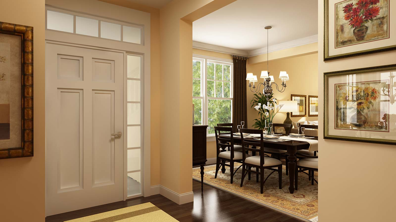 Windows at the front entry accent the hardwood floors at for Entryway dining room ideas