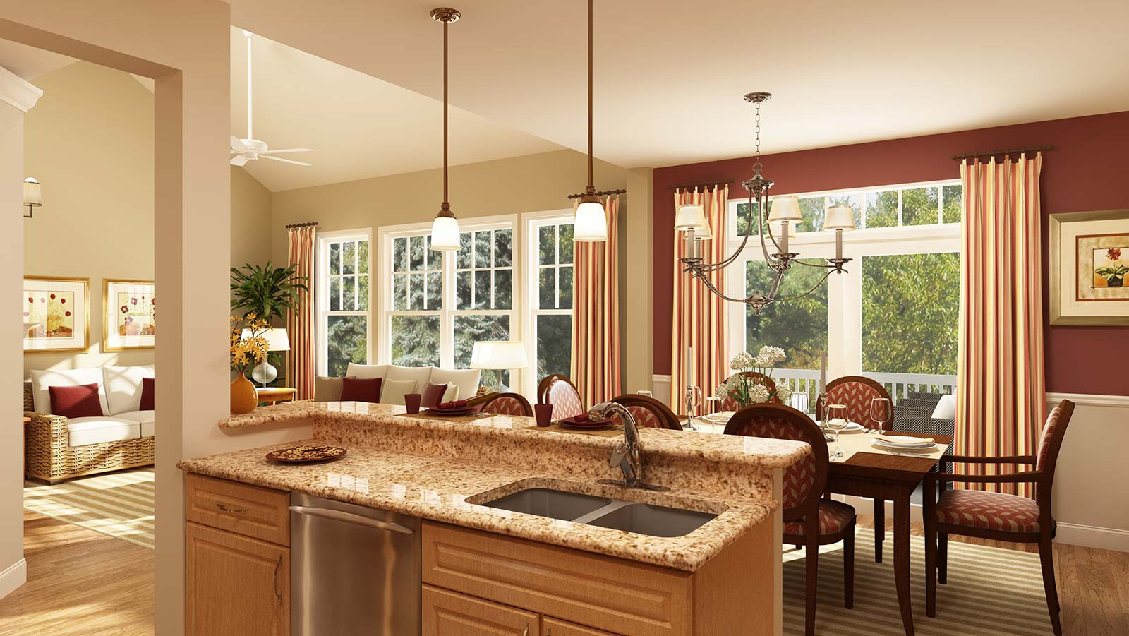Perfect For Entertaining The Osterville Kitchen Overlooks Dining And Living Room Both Of